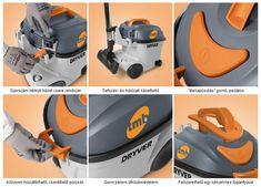 """TMB Dryver 10R: Nagy teljesítményű porszívó; erős, ahol szükséges, finom, mégis hatékony, amikor a diszkrécióra és a funkcionalitásra van szükség. Számos funkció teszi a piacon egyedülállóvá a porszívót.  A gyári szűrőrendszer tiszta levegőt juttat vissza a környezetbe. - Szerszám nélküli kábel csere rendszer. Jólláthatósági tápvezeték - Tartozéktartó és hálózati kábelcsévélő - """"Bekapcsolás"""" gomb, amely pedálos működtetésű is lehet - Könnyű hozzáférés és cserélhetőség a porzsákhoz"""