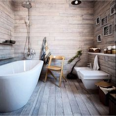 Wooden floor and walls in bathroom <3