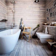 Wooden floor and walls in bathroom <3