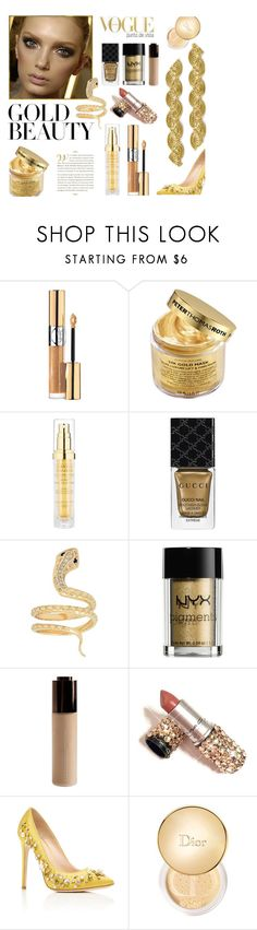 """""""Gold Beauty"""" by andreamilles on Polyvore featuring Yves Saint Laurent, Peter Thomas Roth, Hampton Sun, Gucci, Iconery Basics, NYX, Becca, GEDEBE and Christian Dior"""