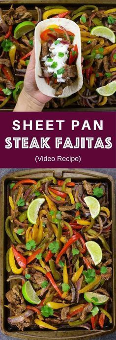 Sheet Pan Steak Fajitas With Taco Bowls one of the easiest healthy dinner recipes. All you need is only a few simple ingredients: Mixed Bell peppers sliced onions and steak mixed with some simple spices (ground cumin chili powder garlic powder salt Beef Recipes, Mexican Food Recipes, Cooking Recipes, Healthy Recipes, Recipes Dinner, Steak Recipes In Oven Dinners, Recipes With Guacamole, Healthy Drinks, Soup Recipes