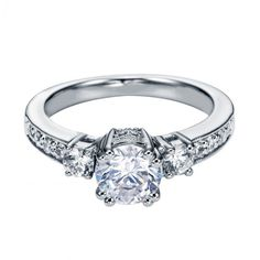 1.10cttw 3-stone Plus Diamond Engagement Ring with Pave Basket Heads from Mullen Jewelers