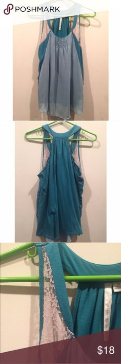 🔥5 FOR $25 EUC Lauren Conrad Teal Lace Tank Top LC by Lauren Conrad Teal Lace Trim Tank Top Blouse with blue/white/teal accents & ruffles, in excellent used condition, in size medium LC Lauren Conrad Tops Tank Tops