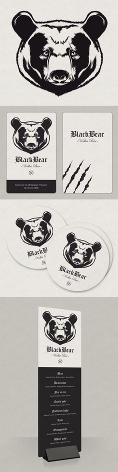 Black Bear - Bar à Vodka | #stationary #corporate #design #corporatedesign #identity #branding #marketing < repinned by www.BlickeDeeler.de | Take a look at www.LogoGestaltung-Hamburg.de