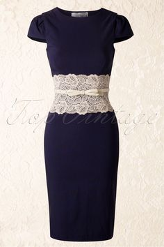 Paper Dolls - Lara Navy Pencil Dress with Cream Lace Panel...LOVE IT!!!!