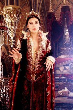 "Monica Bellucci as the Mirror Queen in ""The Brothers Grimm"" (2005). Costume design by Gabriella Pescucci."