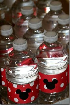 Water bottle labels - I would do pink and a bow for Minnie