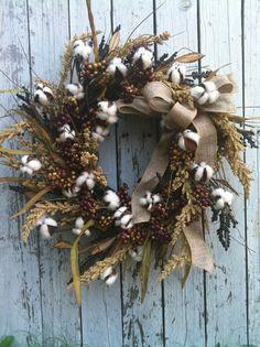 Cotton Berry Fall Wreath - Door Wreath- Country Wreath