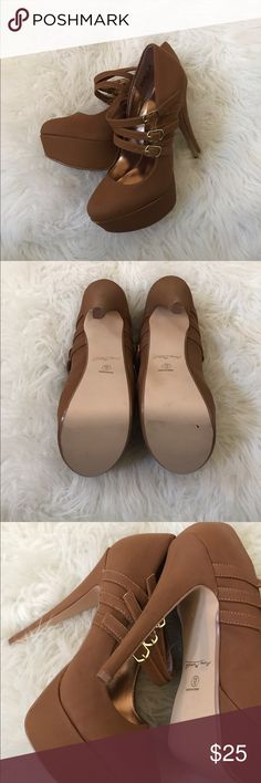 New Brown 3 strap pumps In new condition. Damage shown in last pic is due to storage. Lovely 3 strap closure with gold accents. 5inch heel. Please see last pic for flaws. Anne Michelle Shoes Heels