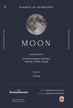 Moon Sign in Astrology - Planet Meaning, Zodiac, Symbolism, Characteristics Infographic - zodiac, astrology, horoscopes, magic, wicca, occult, witchy, witchcraft, pagan, shaman, magick, aries, taurus, gemini, cancer, leo, virgo, libra, scorpio, sagittarius, capricorn, aquarius, pisces