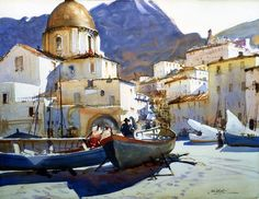 Boats on the Beach, Italy, ca. 1920  Watercolor on paper | John Whorf