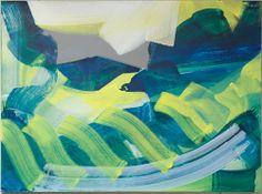 Zonder titel, 2005 - Eitempera op linnen - 127 x 172 cm - Hij onderzocht de wereld om zich heen het liefst door enige afstand te houden. Nadien verruilde hij dit gestileerde realisme in voor harmonisch ogende, maar geabstraheerde landschappen. Horizon of specifieke objecten ontbraken vaak, Zandvliet gaf alle ruimte aan kleurige banen en vlakken die doen denken aan het latere werk van Willem de Kooning.