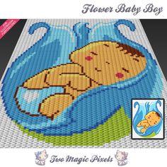 Flower Baby Boy c2c graph crochet pattern; instant PDF download; baby blanket,