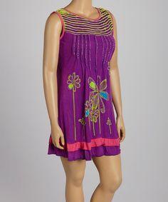 Look at this #zulilyfind! Purple & Pink Floral Shift Dress - Plus by Rising International #zulilyfinds
