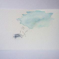 """Watercolor - ink painting """"Dreamer"""" by Hannele Rajala"""