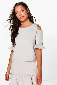 boohoo Willow Ruffle Cold Shoulder Top