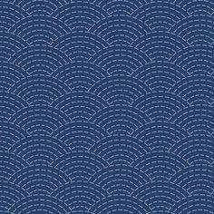 faux sashiko scallop on navy fabric by weavingmajor on Spoonflower - custom fabric