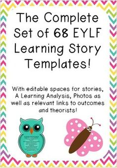 This set of 68 EYLF Learning Story Templates is beautifully designed and contain spaces for stories, learning analysis and photos. It also has relevant EYLF Outcome and Theorist links.The set includes the following story templates:Animal SafariBall SkillsBeing a part of my CommunityBlock PlayMy Birthday (Boy)My Birthday (Girl)Celebrating Australia DayChristmas FunCreating PatternsDramatic PlayEaster FunExploring TechnologyFarm AnimalsFriendshipsFun in the GardenFun with ColoursFun with…