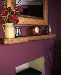 FIREPLACE SHELVES OAK - ( Made from solid 20 cm x 7.5 cm oak beam) & fixings #OakFireplaceShelf #mantle #OakFurniture #lintel #OakFloatingMantle #shelf #mantel #OakShelf #FireplaceShelf #FloatingMantle Oak Furniture, Masonry Wall, False Wall, Beams, Fireplace Shelves, Shelves, Oak, Floating Mantle, French Oak