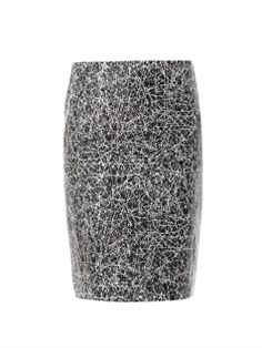 { Marble Print Leather Skirt }