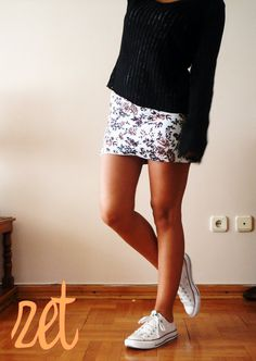 Sweater+Pencil/wrap skirt/+converse