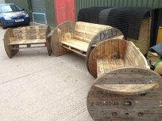 Pallet and cable drum benches