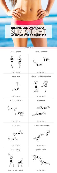 Cinch your entire core and get your tummy slim and tight with this at home bikini abs workout. Complete this sequence once a week and maintain a healthy diet to achieve a firm stomach in no time! Bikini season, here you come!!! www.spotebi.com/...