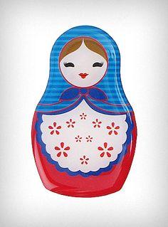 Blue Babushka Russian Doll Magnet   PLASTICLAND