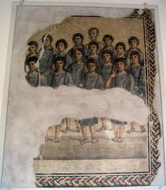 Temple choir mosaic (3rd century CE) -- From the Temple of Diana Tifatina, Campania region, Italy.