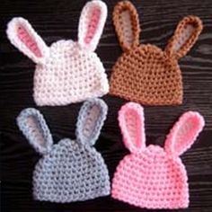 Ravelry: Adorable Baby Bunny Hat pattern by y: Tatiana Jitnikova from Beginner Crochet Patterns Read more at www. Crochet Baby Hat Patterns, Crochet Bunny, Crochet Baby Hats, Crochet Patterns For Beginners, Crochet Beanie, Crochet For Kids, Crocheted Hats, Baby Patterns, Knitting Patterns