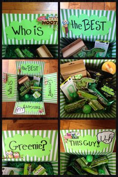 Greenie Package. Filled with funny things and yummy treats!                                                                                                                                                      More