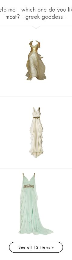 """help me - which one do you like most? - greek goddess -"" by agentmomo51799 ❤ liked on Polyvore featuring dresses, gowns, long dresses, vestidos, white evening gowns, long white evening dress, long white dress, white evening dresses, mint and short evening dresses"
