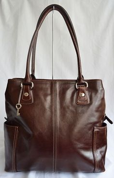 Fossil Mahogany Brown Leather Womens Tote Briefcase Laptop Purse Handbag | eBay