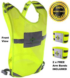 BRIGHTEST REFLECTIVE VEST for Running, Walking, Cycling, Perfect for OUTDOOR SPORTS LOVERS, Extra Coverage with a Free Set of High Visibility Bands. ✔BE ALWAYS SAFE! Wearing our amazing FIREFLY BUDDY you will be visible by drivers in the dark over 60 meters away. Be seen on the road when going for a run, jog, ride or even when you take your dog for a nice walk. ✔YOU WONT FEEL IT! This great high visibility accessory wont interfere when exercising and thanks to the lightweight, odourless…