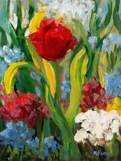 Mona Vivar Red Tulip Flower Garden Abstract Impasto Original Impressionist Art #Impressionism