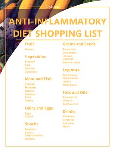Food to Soothe: Your Anti-Inflammatory Diet Shopping List - Listonic Pancreatic Diet Recipes, Anti Inflammatory Foods List, Anti Bloating, Autoimmune Diet, Hashimotos Disease Diet, Diet Grocery Lists, Nutrition, Weight Loss, Lose Weight
