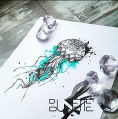 Jellyfish watercolour dotwork mandala tattoo