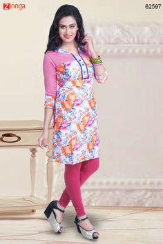 White & Pink Color with Lace & Printed Work Incredible Readymade Kurti. Message/call/WhatsApp at +91-9246261661