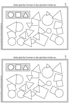 Lernstübchen: recognize the same shapes and paint them the same- Lernstübchen: gleiche Formen erkennen und gleich anmalen Lernstübchen: recognize the same shapes and paint them the same - Montessori Education, Montessori Materials, Fun Math, Preschool Activities, Math Board Games, Nursery School, Kids And Parenting, Teaching, Learning Shapes