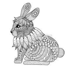 Dibujo conejo zentangle — Vector de stock                              …