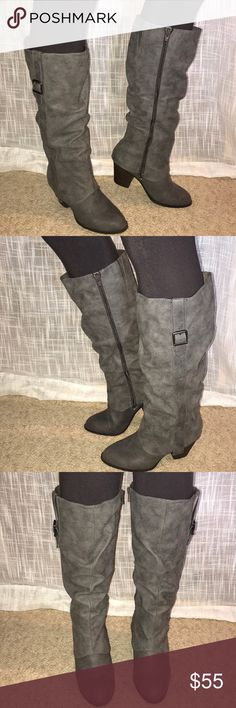 Knee high gray boots New without tags. A pair of knee high gray boots that zip up. These boots are soft and can be wiped clean.  The heels are 3 inches tall.   Smoke free home. jellypop Shoes Heeled Boots