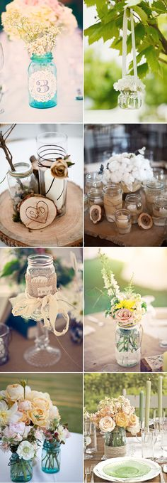 top right: hanging jars with flowers bottom left: centerpieces? not sure David would be into mason jars, but this is beautiful