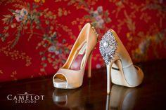 Brides shoes at Oheka Castle