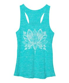 Take a look at this Chin Up Apparel Blue Henna Lotus Raw-Edge Racerback Tank today!