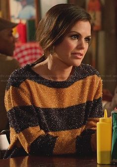 Zoe's tan striped sweater on Hart of Dixie.  Outfit Details: http://wornontv.net/27248/ #HartofDixie