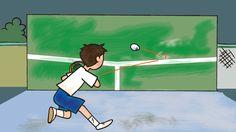 壁打ち練習をする男の子 イラスト