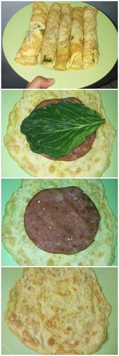 Morning Creation : Easy and Healthy Breakfast.     All you need : (1) Omelet (2) Smoked Beef (3) Green Veggies