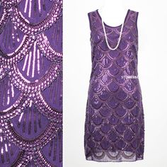 GREAT GATSBY 1920s PURPLE BEADED FLAPPER CHARLESTON PARTY SEQUIN DRESS CHIFFON S #Shift #Cocktail