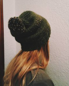 """76c65e28b1f """"• hunter green with flecks of cream and brown adult slouch beanie hat •"""