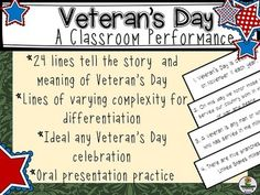 Looking for a unique Veteran& Day performance or a culminating activity aft. Veterans Day Elementary, Elementary Schools, Veterans Programs, Veterans Day Activities, Student Council, School Fun, School Ideas, Honor Veterans, Classroom